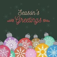 saludo navideño con adornos de colores
