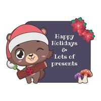 Funny Christmas greeting with cute cartoon beaver