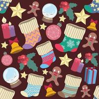 Seamless pattern with various Christmas elements