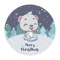 Christmas greeting with cute little polar bear