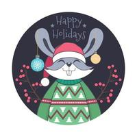 Christmas greeting with cute rabbit in ugly sweater