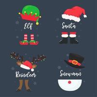 disfraces de personajes navideños con texto vector
