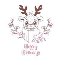 Happy Holidays greeting in lineart style with cute reindeer
