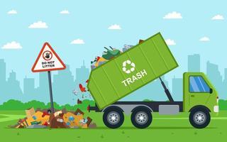 Drump truck descarga ilegal de residuos en el campo vector