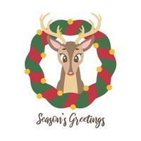 saludo navideño con lindo y tímido reno