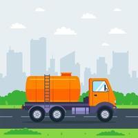 caminhão tanque dirige pela cidade