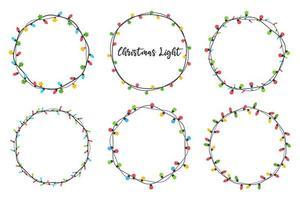 conjunto de coronas de bombilla de navidad vector
