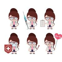 Caucasian female doctor mascot in various poses