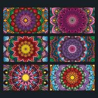 Colorful ornamental mandala banners collection