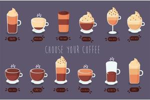 paquete de tipos de café vector