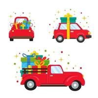 Red vehicles carrying big gift boxes