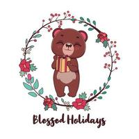 Blessed Holidays greeting with cute bear and wreath vector