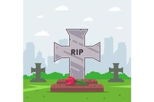 Cemetary grave cross vector