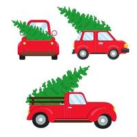 Red pickup trucks carrying Christmas trees