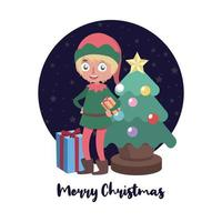 Christmas greeting with elf helper vector