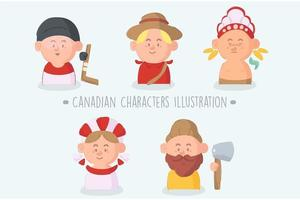 Cartoon Canadian Characters Pack vector
