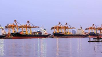 time-lapse, grande carico di container di trasporto del ponte della gru. video