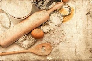 baking ingredients and tolls for dough preparation. retro style