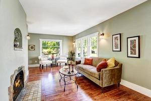 Light mint spacious room with fireplace photo