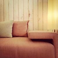 Old fashioned pink sofa and lamp photo