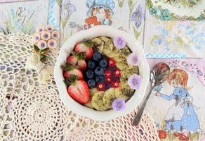 Nana Blueberry strawberry and banana bowl photo
