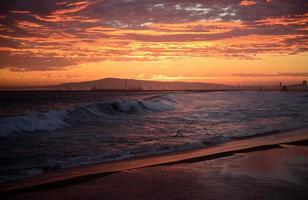 Dramatic sunset waves port of Long Beach California background