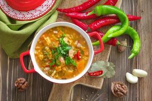 Vegetable soup Kharcho. Georgian cuisine.