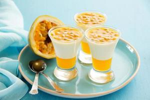 Panna cotta with passion fruit. photo