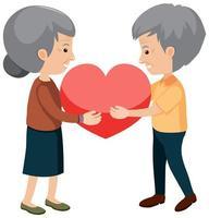 abuelos felices con corazón vector