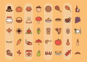 Thanksgiving Day celebration icon set