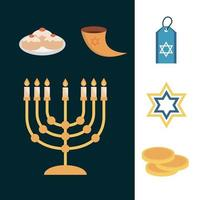 Hanukkah, Jewish traditional ceremony flat icon set