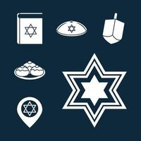 Hanukkah, Jewish traditional ceremony silhouette icon set