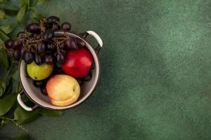 Fruta variada en un plato sobre fondo verde