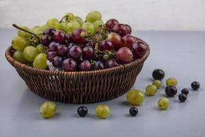 Basket of grapes on gray surface