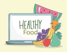 Healthy menu and fresh food e-commerce composition