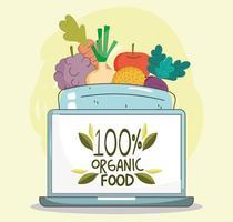 menú saludable y composición de comercio electrónico de alimentos frescos.