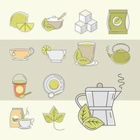Tea time icon set vector