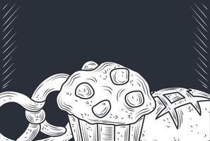 Baked food vintage banner background