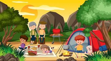 Picnic and camping scene with happy family