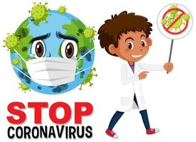 Stop coronavirus text with earth wearing face mask