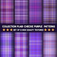Purple checkered plaid fabric seamless pattern collection