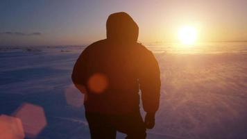Ein Mann geht zu Schneesturm, Wind und Sonne. kalte Arktis. gefrorener Schnee treibt