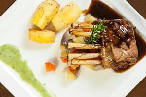 Delicious rack of lamb dish with roast vegetable and potatoes