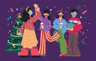 celebración navideña con amigos con protocolo