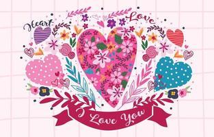 Ilustración de corazón con flores de colores vector