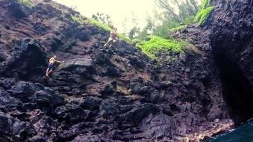 Cliff Jumping in Hawaii. Summer Fun Lifestyle.
