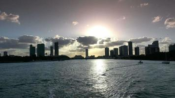 Silhouette of Miami Skyline in the evening