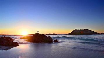 paysage de la côte au coucher du soleil