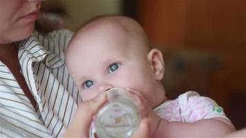 beautiful mother feeds baby from a bottle video