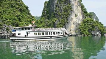 View of travel at tourist boat on Ha Long Bay, a world natural heritage